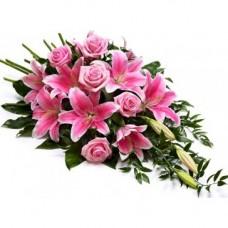 Pink Rose & Lily Spray